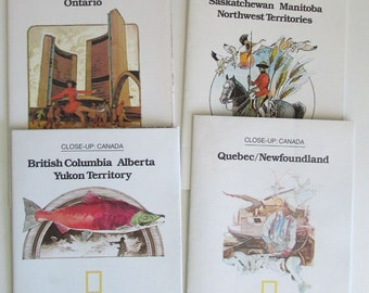 Vintage Historical Maps National Geographic Close-Up Canada Set of 4 Maps