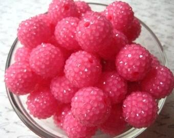 Pink Disco Ball Bead, Rhinestone Bead, 10 pcs, 20mm Bumpy Chunky Necklace Bead, Deep Bubblegum Pink, Gumball Beads, Bubblegum Bead