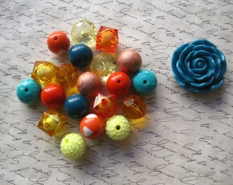 Necklace Kit, Fall Colors, Chunky Gumball Bead Kit, Orange, Yellow, Teal, Bubblegum Necklace Kit, Hardware Included, Necklaces, DIY Jewelry