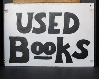Vintage wood sign /  used books / store sign.
