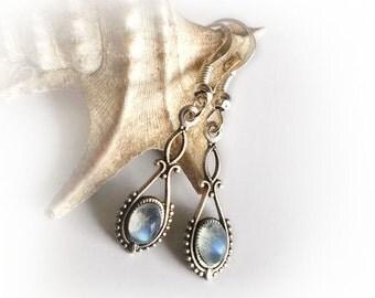 Art nouveau earrings, labradorite earrings, ornate vintage style small dangles, dainty drop earrings