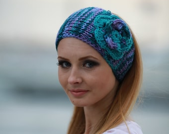 knit headband with flower, knitted headband Multicolor Teal Purple Violet Blue Aqua Crochet Headwrap Acrylic Ski