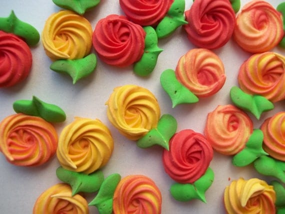 Fall colors royal icing rosettes 3/4 inch with attached leaves