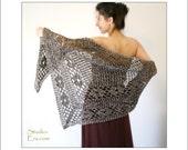 PATTERN - Crochet - Rusty Flower Shawl - Wrap - Brown
