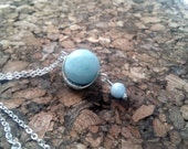 Argentium Sterling Silver and Aquamarine Pendant Necklace