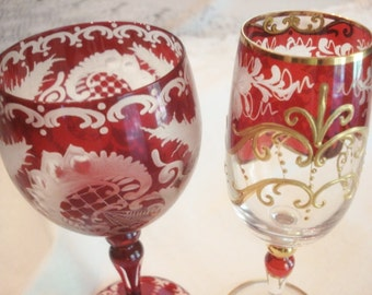 Vintage Bohemian Czech Glass Goblets Ruby Deer Castle Egerman Gold Enamel Stunning Etched Pair
