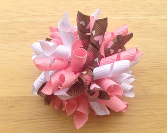 Ready to ship 25 % OFF Precious pink heart korker hair bow, Valentine's Day korker bow, pink hair bow, pink bow