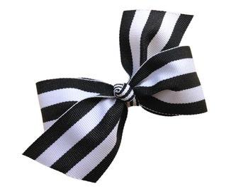 Black & white striped hair bow - girls hair bows, girls bows, 4 inch bows, boutique bows, black hair bows, hair clips