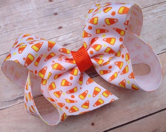 Candy corn hair bow - Halloween bow, candy corn bow, 4 inch boutique bow