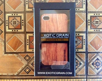 IPHONE 4  and 4s  hand polished rosewood sharp looking white edges