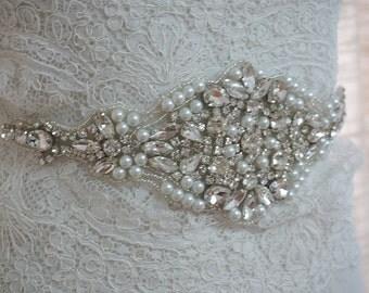 rhinestone and pearl bridal sash applique