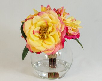 Real Touch Yellow Orlane Roses Arrangement w/ Red Tip in Round Glass Vase as Artificial Florals Faux Arrangement for Home Decor