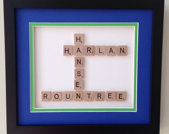 CONSULT fee for: CUSTOM SCRABBLE Crossword-style Framed Name(s) Shadowbox for individuals or families