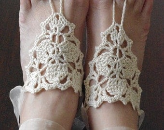 Bridal wedding shoes cream ivory  crochetwedding Barefoot Sandals, Nude shoes, Foot jewelry, Bridal, Victorian Lace, Sexy, Yoga, Anklet