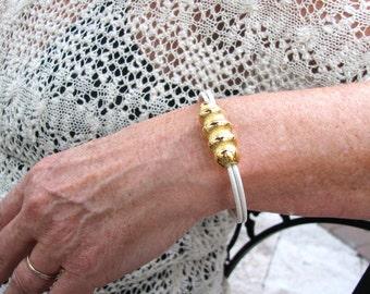 Chunky gold bead bracelet Bead leather bracelet Thin leather cord bracelet Minimalist white bracelet  Bold office jewelry for women