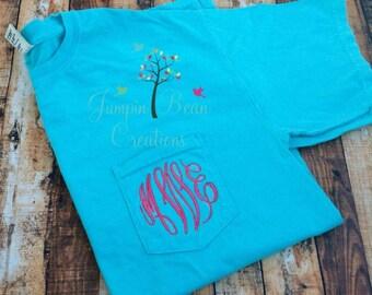 Monogrammed Comfort Colors Pigment dyed Pocket Short Sleeve Tshirt, Bridesmaids, Sorority bachelorett