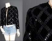 Black Velvet Jacket Quilted Ribbon cropped Bohemian women size S small