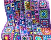 Crochet afghan crochet blanket handmade blanket kaleidoscope granny square afghan, lavender border 52 inches, MADE TO ORDER