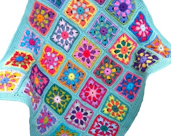 Crochet baby blanket crochet baby afghan granny square handmade baby blanket, combo 2 colours 36 in. x 42 in. seafoam border, READY TO SHIP