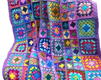 Crochet afghan crochet blanket handmade blanket kaleidoscope granny square afghan, lavender blanket, 52 inches, READY TO SHIP
