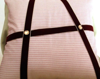 Pillow, Red Maroon, Ribbons & Gold Buttons