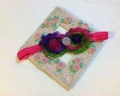 Double Neon Rainbow Shabby Chic Flowers on an Hot Pink Headband with Rhinestone/Pearl Embellishment, Infant to Adult