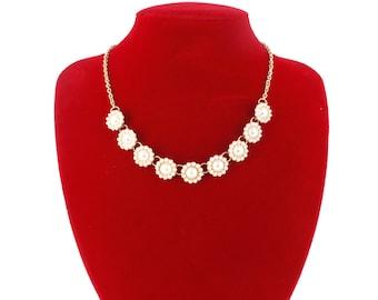 Pretty Gold-tone Victorian Style Pearl Necklace,C7
