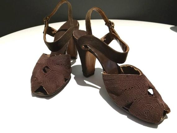1940s Rare Brown Corde Peep-toe Slingback Shoes - 7.5