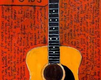 Townes Van Zandt Art. Takamine F340s acoustic guitar art print. 11x17. Lawsuit era guitar.