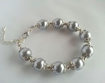 Bridal Bracelet, Wedding Bracelet, Pearl Bracelet, Bridal Jewellery, Bridal Jewellery UK, Bridal Jewelry Pearl, Lilac Jewellery