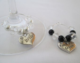Wine Charms, Champagne Flutes Wedding, Wedding Table Decoration, Wedding Glasses, Bride and Groom Gift, Bride and Groom Champagne Glasses