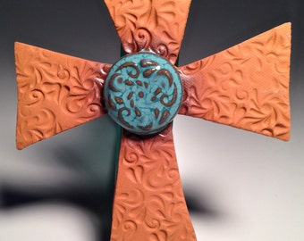Handcrafted Pottery Cross Wall-hanging Christian Unique Modern Ceramic Confirmation First Communion Brown Turquoise Jesus Collection