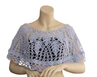 Hand crochet Capelet,Blue capalet,women accessories, Wedding Wrap Bridesmaid Bridal Capelet Wedding Accessory,wedding boleros