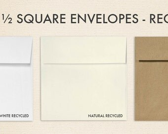 5 1/2 x 5 1/2 Square Envelopes w/Peel & Press - Recycled - Pick A Color (50 Qty.)