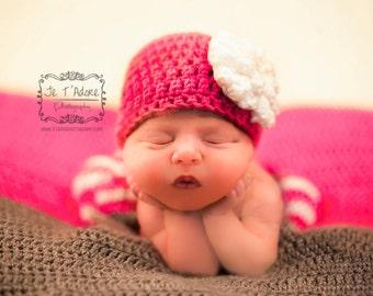 Newborn Pink Beanie Hat with White Flower