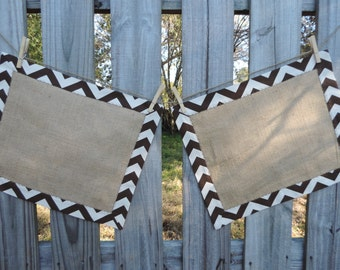 Tailored Brown Chevron and Burlap Placemats-Set of 2