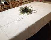 White shabby chic tablecloth cottage battenburg banquet tablecloth white embroidered cotton wedding tablecloth by hermina's cottage