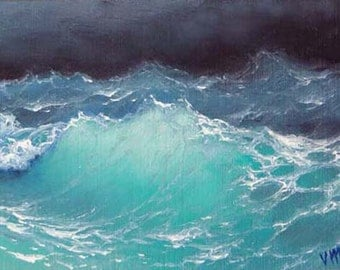 "435 - ""Pacific Ocean"",  5""x 7"" original canvas giclee print"