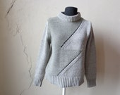 chunky gray ZIG ZAG sweater/ loose-knit/ fitted// large