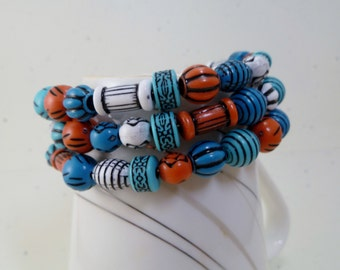 Funky Multi Beaded Memory Wire Bracelet and Earrings Set