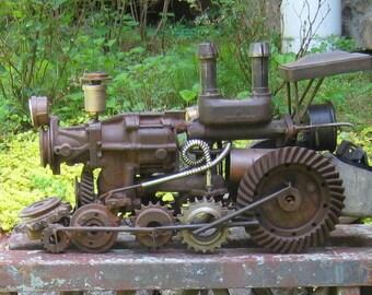 Artist Made Locomotive Engine Steampunk Sculpture