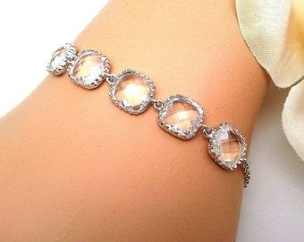 Small Clear Crystal Wedding Bracelet,Gemstone,bridesmaid gifts,Chain Bracelet,Crystal Bracelet, Bracelet,Friendship Bracelet,Bead Bracelet
