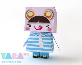 DIY Printable Cutout Doll, DIY Paper Doll, Kawaii Printable Doll, Blue Doll, TaraDoll, Instant Download Paper Doll, Educational Toy, Art Toy