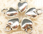 Tiny, Simple, Puffed Heart Charms, Antique Silver (10) - S170