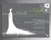 Wedding Dress Bridal Shower Invitation, Customizable, Printable