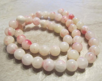 "Pink and White Jade Smooth Round Beads, 8mm, 1/2 Strand, 7"""