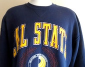 go CSUDH toros vintage 90's California State University Dominguez Hills navy blue fleece yellow maroon puffy print crest graphic sweatshirt