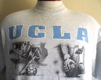 GO Bruins vintage 90's UCLA Sports University of California Los Angeles blue white puffy print illustration graphic t-shirt heather grey