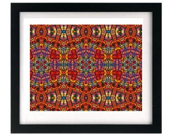 11 x 8.5 Psychedelic Fractal Starving Artist Signed Art Print FREE shipping