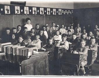 Old Photo Postcard School Room Teacher and Children Greenville Iowa 1910s Photograph snapshot vintage Girls Boys Azo Rppc